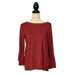 NWT The Limited Merlot Sweater Pleated Flare Slvs